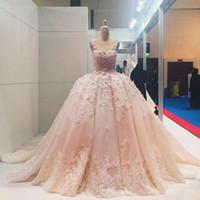 robes de mariée cathédrale rose achat en gros de-Blush Rose 3D Floral Robe De Bal De Mariage Desses 2019 Sheer Neck Puffy Jupe Dentelle Fleur Cathédrale Train Dubai Arabe Princesse Robe De Mariage