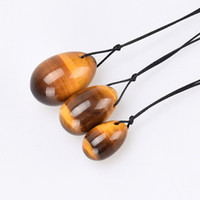 Wholesale gemstone tiger eye - Ronny Zhu Wenwu Tiger Eye Yoni Egg Drilled Gemstone Jade Eggs for Women Kegel Exercise Crystal Magic Ben Wa Balls Massage