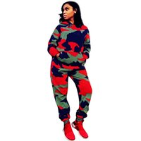 Wholesale wholesale camping clothing for sale - Camo women sweatsuit tracksuits two piece set outfits camouflage hoodie leggings sportswear long sleeve sweatshirts pullover pants clothing