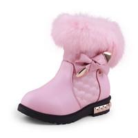 kış kar prenses çocuk ayakkabıları toptan satış-2018 Yeni Prenses Kız Çizmeler Çocuk Kar Botları Kızlar için Kürk Pamuk Kış Kar Botları Moda Sıcak Ayakkabı 26-37 #
