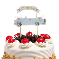 ingrosso bandiere diy-Just Married Cake Flags Cupcake Cake Topper Toppers Bambini Compleanno Matrimonio Wrapper Party Baby Shower Cottura DIY Xmas