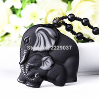 obsidien muska kolye toptan satış-Çin İşi Doğal Siyah Obsidian Oymalı Anne Bebek Sevimli Fil Muska Şanslı Kolye Kolye Moda Takı