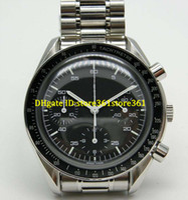 montre de pleine lune achat en gros de-store361 nouvelle arrivée montres Professional Quartz Lune Montres Tachymetre Visage Noir Plein Acier Inoxydable Band Squelette Planet Ocean Mens Watc