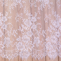 Wholesale netted dresses online - Lace Fabric Embroidery Clothes Dyeable White Black DIY French Eyelash Lace Fabric Exquisite Clothing Wedding Dress Accessories xs bb