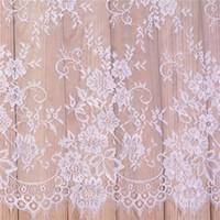vestidos de casamento brancos bordados pretos venda por atacado-Tecido rendas Bordado Roupas Dyeable Branco Preto DIY Francês Rendas Cílios Tecido Requintado Roupas Vestido De Noiva Acessórios 25xs bb
