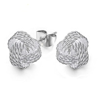 Wholesale balls for earrings online - High Quality Sterling Silver Weave Knot Ball Stud Earrings For Women Fashion Party Fine Jewelry