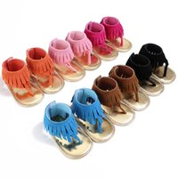 Wholesale Pink Infant Sandals - Summer Infant Tassel Sandals Baby Leather Sandals Girls Toddler Casual Shoes Multicolor High Top Baby Shoes Newborn Floor Walking Shoes