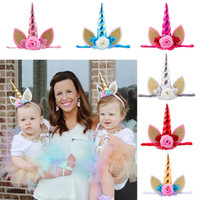 Wholesale pink gold hair accessories for sale - INS Baby girl Unicorn Headband Hairwear Gold ears Flowers Children Birthday Party Hair Accessories Cute colors