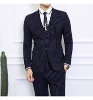 Wholesale good quality suits for men resale online - 2018 Stripe Business Casual Wedding Suits For Men Good Quality Single Button Notched Collar Mens Suits Tuxedos Piece Jacket Pant Vest