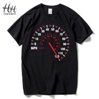 ingrosso tachimetro nero-T-shirt HanHent tachimetro moto moda uomo cotone estate t-shirt auto velocità design nero supera tees fitness abbigliamento marca