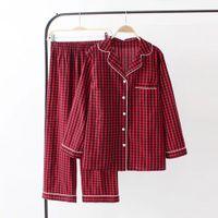 женщины с салон набор пижама оптовых-Новый 2018 из двух частей женские пижамные комплекты плед с длинным рукавом пижамы женские пижамные ночные рубашки Sleep Lounge