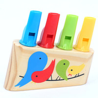 Wholesale Toy Pipes - New Fashion Baby Wooden Toys Rainbow Pipe Wood whistle Birds Whistling Multicolor Infant Musical Toys Early Eduactional Gifts