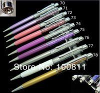 Wholesale pen ball top resale online - metal crystal elegant Ball Point Pen with colors for choose crystal on top and up barrel of the pen
