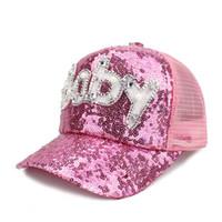 Summer Baby Baseball Cap Hat Children Cute Hat letter Sequined Snapback  Caps Child Tourist Visor Sun Cap Kid s Bone Gorro 2018 0cd4ea5a9279
