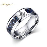 Wholesale carbon fiber ring wedding band - Meaeguet Cool Men Masonic Rings Stainless Steel Wedding Rings for Men Jewelry With Blue & Black Carbon Fiber Rings Jewelry