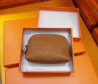 Wholesale Oval Purse - Famous Brand H Genuine Leather Coin Pocket Women Cowhide wallet Purse Zipper Bag keys bag pocket holder Real Images Factory Wholesale