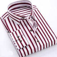 resmi elbiseler polka noktaları toptan satış-Moda Bahar Erkekler Casual Gömlek Moda Uzun Kollu Marka Baskılı Düğme-Resmi Örgün İş Puantiyeli Çiçek Erkekler Elbise Gömlek Sıcak SATıŞ