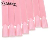 esmalte de uñas color tablero al por mayor-Rolabling Nail Art Stick Display Color rosado Abanico con forma de puntas falsas Polaco UV Tablero de práctica Plástico Uñas falsas Herramienta de manicura