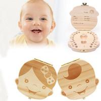 junge bilder großhandel-Großhandels-Tooth Box für Baby Milchzähne speichern Jungen / Mädchen Bild Holz Aufbewahrungsboxen Kreatives Geschenk für Kinder Travel Kit englische Version