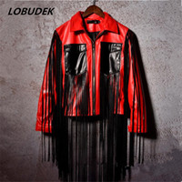 Wholesale Leather Stage Clothes - PU leather male jacket coat nightclub bar DJ DS stage costumes red black tassels leather outerwear blazer rock jazz show clothes