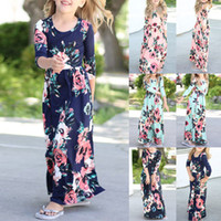 Wholesale long beach summer maxi dress - 6 Colors Girls Long Sleeve Floral Print Maxi Dress Holiday Party Weddding Princess Girl's Dress Kids Clothing AAA296