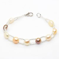 Wholesale strands black pearls 9mm - 2018 Natural Freshwater Button Pearl Bracelet 7-9mm Natural Color Pearl Beaded Bracelet Charm Fashion Jewelry Wholesale