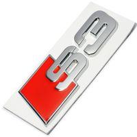 auto s4 venda por atacado-Novo Auto 3D Liga de Zinco S3 S4 Etiqueta Do Cauda Do Carro Emblema Do Emblema Do Logotipo Do Metal Traseiro Cauda Crachá Adesivo Logo para Audi Car Styling