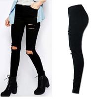 ingrosso pantaloni scarni alti neri alti-2017 Nuove donne Cool Ripped Knee Cut Skinny Jeans lunghi pantaloni a vita alta Pantaloni matita nera