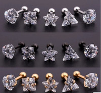 Wholesale gold cartilage piercing - Star Crystal Cartilage Earring Medical titanium steel zircon earrings 5mm round star triangle ear Piercing Top Body Jewelry Drop Shipping