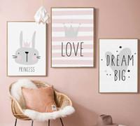 malerei babyzimmer großhandel-Schöne Nordic Liebe Crown Kaninchen A4 A3 Leinwand Malerei Kunstdruck Poster Bild Wand Baby Zimmer Kinder Schlafzimmer Dekoration