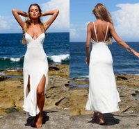 Wholesale modest organza beach wedding dresses for sale - Group buy Short Beach Wedding Dresses Modest Sexy Spaghetti Backless Tea length Mermaid Summer Holiday Country Seaside Wedding Gown Cheap