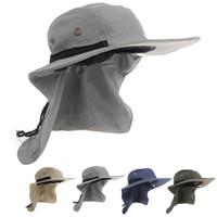 Wholesale boonie hats resale online - Neck Flap Boonie Hat Fishing Hiking Safari Outdoor Sun Brim Bucket Bush Cap Climbing Hat Colors