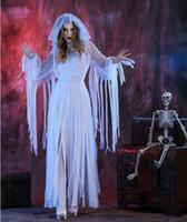 Wholesale vampire bride costume online - Women White Mantilla Dress Party Halloween Bride Ghost Vampire Cosplay Dry Corpse Long Dress Cosplay Costumes
