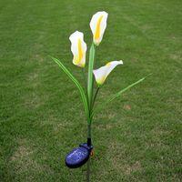 calla lilie licht großhandel-Lumiparty Solar Energy Powered 3 Kunststoff künstliche Calla Lily 3 LEDs IP55 Outdoor dekoratives Licht Innenhof Lampe