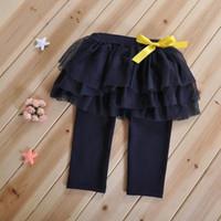 гетры синего малыша оптовых-INS девочка малыш дети кружева брюки кружева леггинсы шифон брюки сплошной белый темно-синий розовый цвета пачка брюки леггинсы