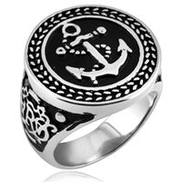 Wholesale Mens Anchor Rings - 2018 Brand New High Quality Antique Silver Anchor Biker Mens Ring Hip hop Punk style Silver Rings for Men