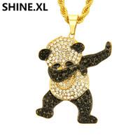 pandas de diamante al por mayor-Collar de panda de acero inoxidable Hip Hop Iced Out Full Lab Collar de diamantes Chapado en color dorado Colgante Charm Chain para Mujeres Hombres