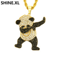 pandas diamant großhandel-Hip Hop Edelstahl Panda Halskette Iced Out Voll Lab Diamant Halskette Gold Farbe Überzogen Anhänger Charme Kette für Frauen Männer
