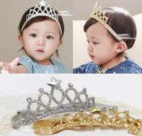 elmas bebek taç toptan satış-Bebek Kız Headbands Çocuklar Imperial Crown Saç Aksesuarları Tiaras Headbands Ile Yıldız Ve Elmas Saç Aksesuarları Ücretsiz kargo