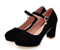 Wholesale rhinestone belt fall online - chaussure femme platform wedding chunky high heels zapatos mujer women pumps candy shoes woman ladies belt buckle C170510