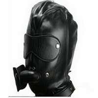 Wholesale gag plugs for mouth for sale - Group buy BDSM Mouth Plug Gag PVC Leather Hood Mask Headgear In Adult Games For Couples Erotic Fetish Sex Products Toys For Women And Men