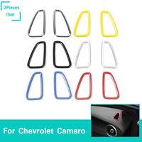 havalandırma çıkartmaları toptan satış-Dashboard Sol Sağ Klima Çıkış Vent Yüzük Sticker İç Aksesuar Için Chevrolet Camaro 2017 Up Araba Styling