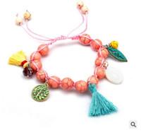 costuras tece venda por atacado-Pinho multicolorido, bronze, concha, multicor, franjas, Mashup, pulseira de tecelagem feminina, costumes exóticos.