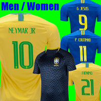 Wholesale Football Training Kits - NEYMAR JR Brasil soccer jerseys 2018 World cup men women Brazil Jersey Training JESUS COUTINHO FIRMINO football kit shirt camisa de futebol