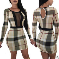 Wholesale tight mesh dress - 2018 large size women's dress Sexy hot fashion ladies explosions tights hip dress Classic Plaid mesh stitching long-sleeved skirt Three seas