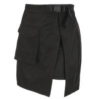 jupon noir longueur genou achat en gros de-HEYounGIRL Harajuku Cargo Mini Jupes Femmes Sexy Taille Haute Mini Jupe D'été Casual A-ligne Jupes Courtes Split Poches De La Mode