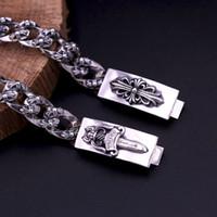 ingrosso braccialetti di spessore 925-2018 nuovi collegamenti di spessore Argento 925 gioielli vintage marchio americano argento antico di design fatte a mano attraversa bracciali mens caldi