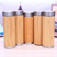 Wholesale Tea Bottles Strainers - Bamboo Stainless Steel Water Bottle Vacuum Insulated Coffee Travel Mug With Tea Infuser Strainer 16oz Wooden Bottle CCA9144 30pcs