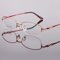 montures de lunettes violet titane femmes achat en gros de-Lunettes Femme Lunettes Titane Demi Lunettes Sans Monture Cadres LB-8936 Violet Rose Rouge