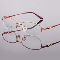 ingrosso occhiali viola per le donne-Montature per occhiali da donna Titanium Half Rimless Montature per occhiali LB-8936 Purple Pink Red